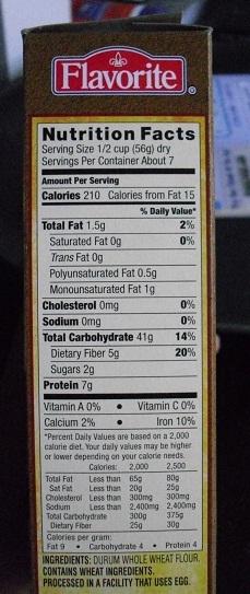 Pasta nutrition information