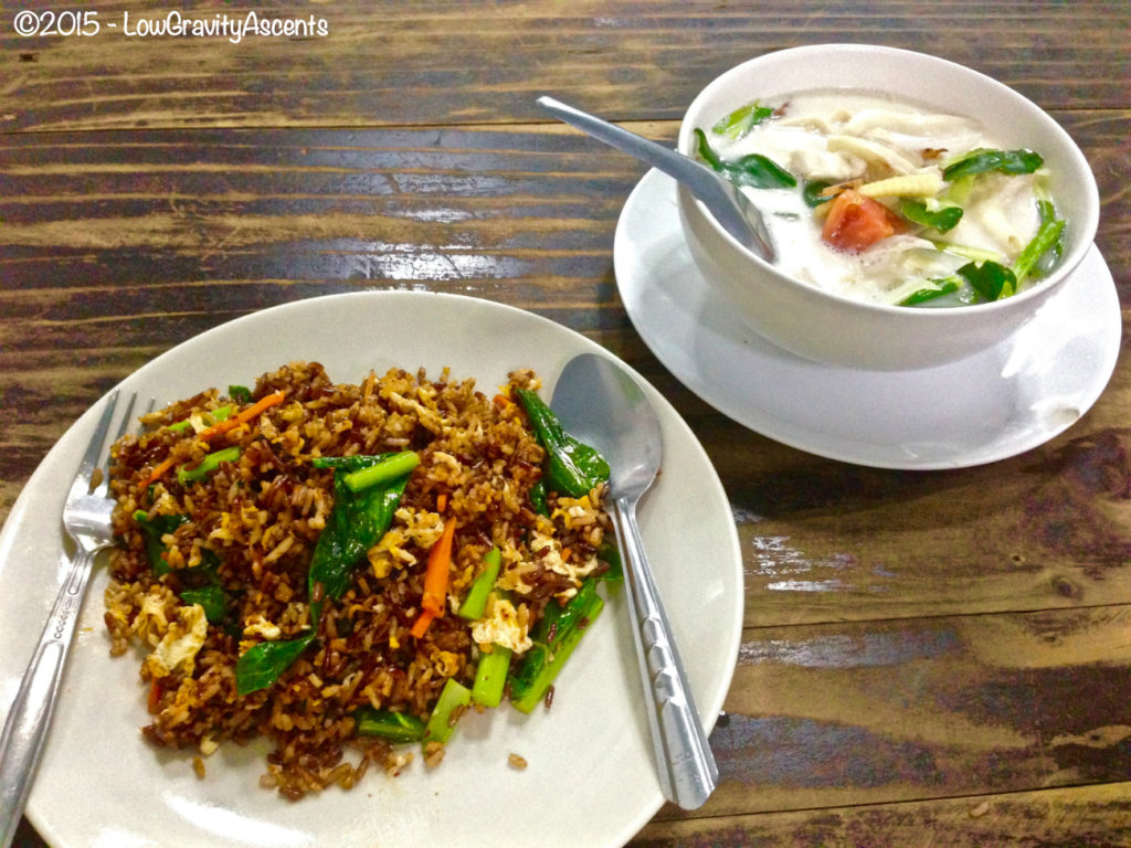 Pork fried rice with chili paste and coconut spicy sour soup